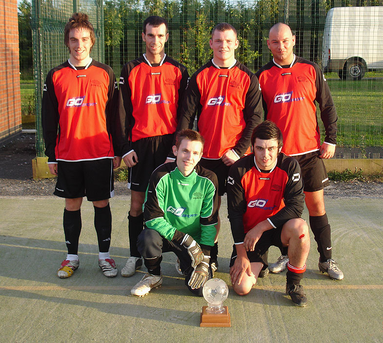 The winning team, AFC Redhouse. Pictured standing from left to right are Gash Brazier, Chris Middlemiss, David Murton, Grant Foster. In front, with the trophy, are Chris Middlemiss and Tommy Bell.