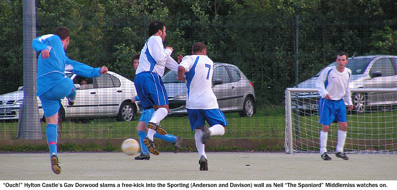Sporting Redhouse 4 Hylton Castle 1. Gav Dorwood fires in a free-kick for Hylton against the two-man Sporting wall